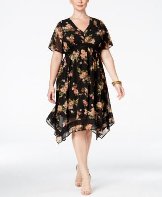 American Rag Trendy Plus Size Printed Handkerchief-Hem Dress, Only at Vogily