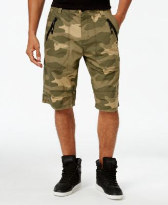 Sean John Men's Camo-Print Zip-Front Flight Shorts