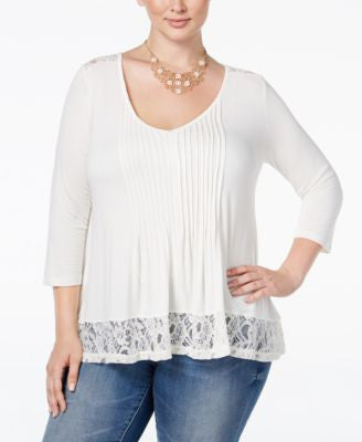 American Rag Trendy Plus Size Shirred Lace-Trim Top, Only at Vogily
