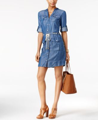 MICHAEL Michael Kors Petite Denim Belted Shirtdress