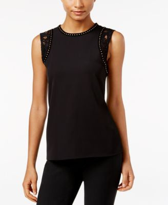 Calvin Klein Lace-Trim Studded Top