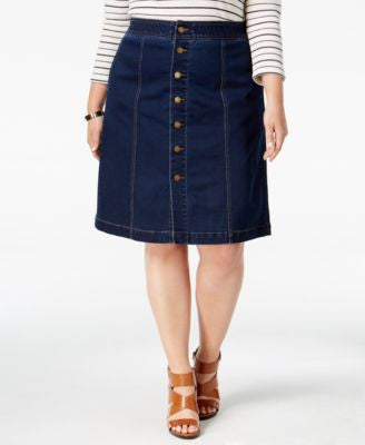 Charter Club Plus Size Tummy-Control Denim A-Line Skirt, Only at Vogily
