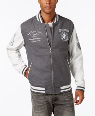 Sean John Men's Multi-Patch Denim Varsity Jacket