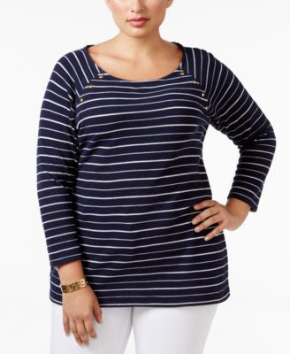 Charter Club Plus Size Embellished Striped Top, Only at Vogily