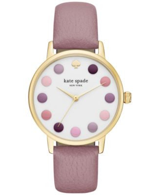 kate spade new york Women's Metro Pink Leather Strap Watch 34mm KSW1174