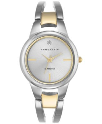 Anne Klein Women's Diamond Accent Two-Tone Stainless Steel Bracelet Watch 30mm AK-2629SVTT