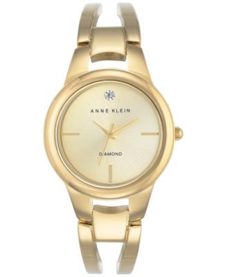 Anne Klein Women's Diamond Acccent Gold-Tone Stainless Steel Bracelet Watch 30mm AK-2628CHGB