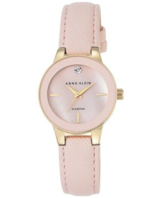 Anne Klein Women's Diamond Accent Light Pink Leather Strap Watch 30mm AK-2538PMLP