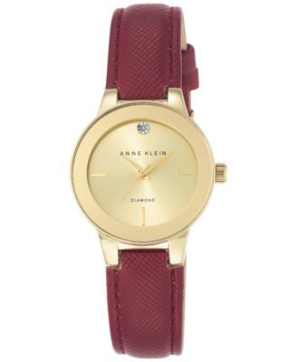 Anne Klein Women's Diamond Accent Burgundy Leather Strap Watch 30mm AK-2538CHBY