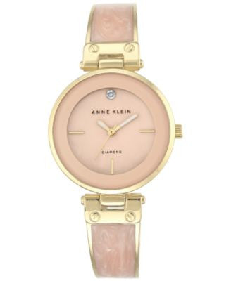 Anne Klein Women's Diamond Accent Gold-Tone and Light Pink Bracelet Watch 34mm AK-2512LPGB