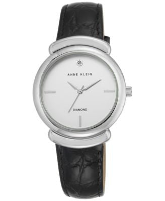 Anne Klein Women's Diamond Accent Black Leather Strap Watch 36mm AK-2359SVBK