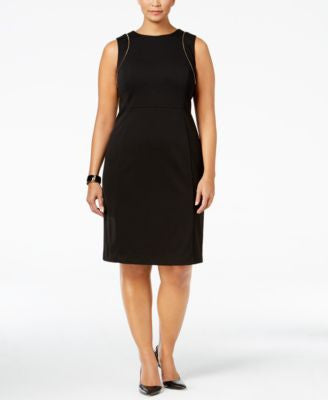 Calvin Klein Plus Size Zip-Trim Sheath Dress