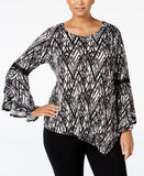 NY Collection Plus Size Ruffled Bell-Sleeve Top