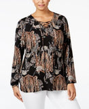 NY Collection Plus Size Printed Lace-Up Peasant Blouse