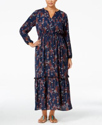 NY Collection Plus Size Printed Maxi Peasant Dress