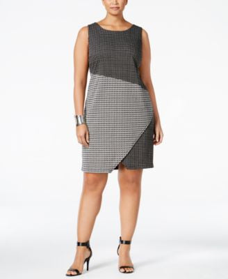 NY Collection Plus Size Mixed-Print Shift Dress