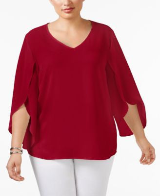 NY Collection Plus Size Tulip-Sleeve Chiffon Blouse