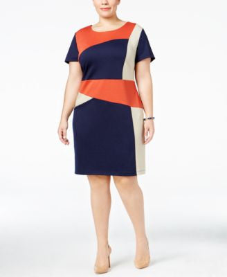 NY Collection Plus Size Colorblocked Sheath Dress