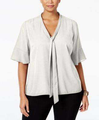 NY Collection Plus Size Tie-Neck Flutter-Sleeve Blouse