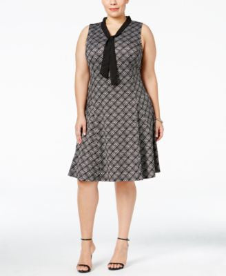 NY Collection Plus Size Tie-Neck Fit & Flare Dress