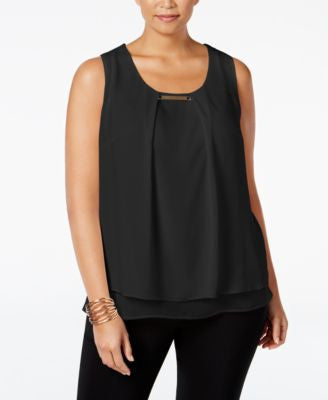 NY Collection Plus Size Hardware-Detail Layered Top