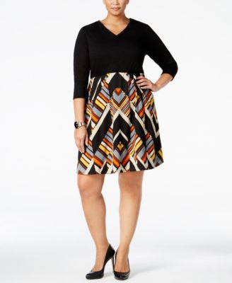NY Collection Plus Size Geo-Print Fit & Flare Dress