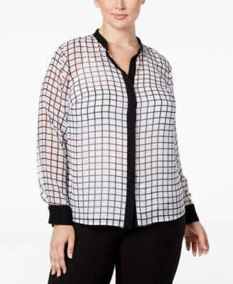 MICHAEL Michael Kors Plus Size Check-Print Shirt