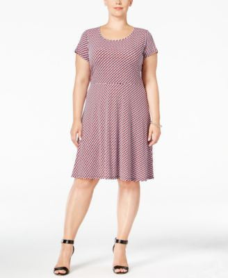MICHAEL Michael Kors Plus Size Printed Fit & Flare Dress