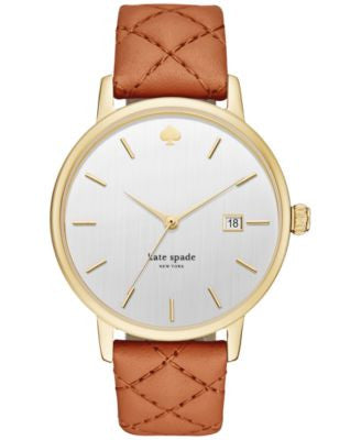kate spade new york Women's Metro Grand Luggage Leather Strap Watch 38mm KSW1161