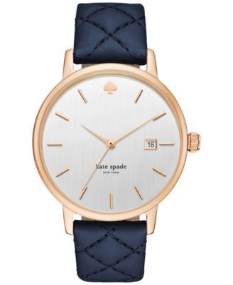 kate spade new york Women's Metro Grand Blue Leather Strap Watch 38mm KSW1160