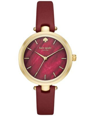 kate spade new york Women's Holland Merlot Leather Strap Watch 34mm KSW1159