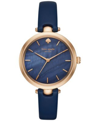 kate spade new york Women's Holland Blue Leather Strap Watch 34mm KSW1157