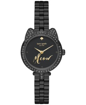 kate spade new york Women's Mini Gramercy Black Ion-Plated Stainless Steel Bracelet Watch 26mm KSW11