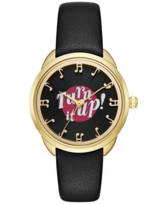 kate spade new york Women's Crosstown Record Black Leather Strap Watch 34mm KSW1148