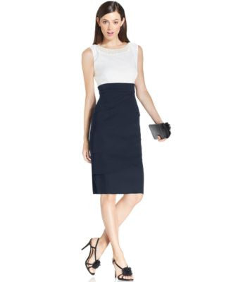 Connected Petite Embellished Tiered Sheath Dress
