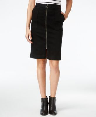 Style & Co. Petite Zip-Front Denim Skirt, Only at Vogily