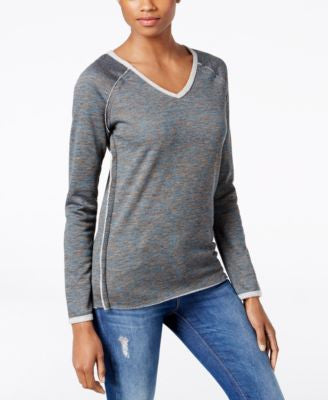 Kut from the Kloth Exposed-Seam V-Neck Sweatshirt