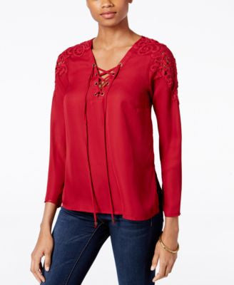 Kut from the Kloth Crochet-Trim Lace-Up Top