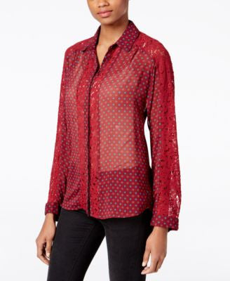 Kut from the Kloth Lace-Trim Sheer Shirt
