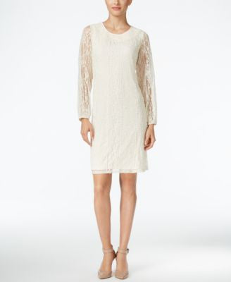 Style & Co. Sheer-Sleeve Lace Dress, Only at Vogily