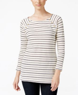 Charter Club Striped Embellished Top, Only at Vogily
