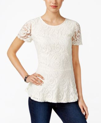 Charter Club Lace Peplum Top, Only at Vogily