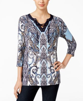 Charter Club Paisley-Print Lace-Up Top, Only at Vogily