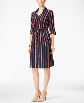 Charter Club Striped Fit & Flare Shirtdress, Only at Vogily
