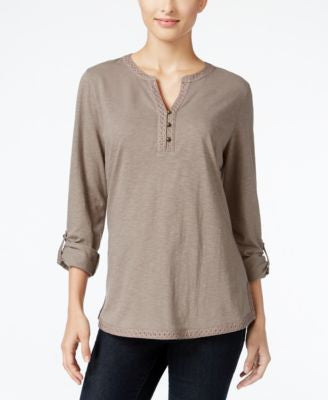 Style & Co. Crochet-Trim Henley Top, Only at Vogily