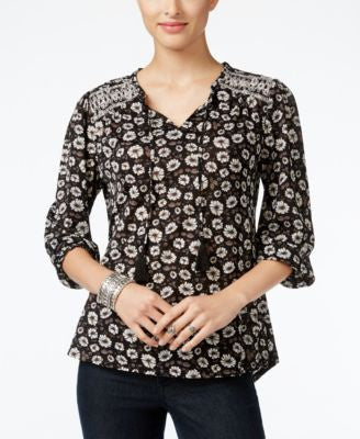 Style & Co. Printed Embroidered Peasant Top, Only at Vogily