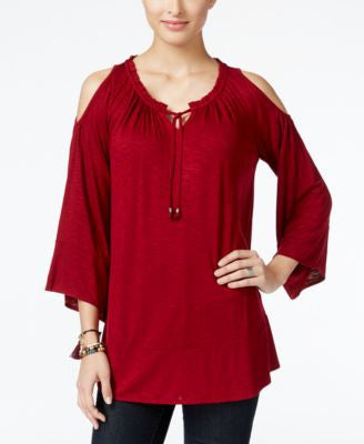 Style & Co. Cold-Shoulder Peasant Top, Only at Vogily