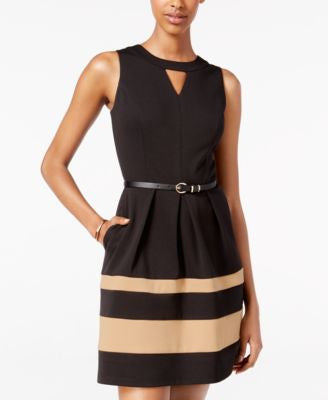 BCX Juniors' Belted Colorblocked A-Line Dress