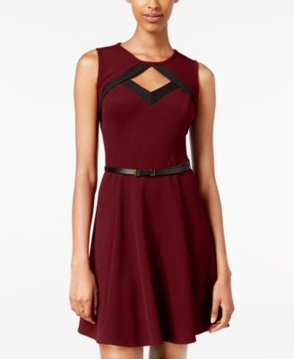 BCX Juniors' Belted Cutout Fit & Flare Dress