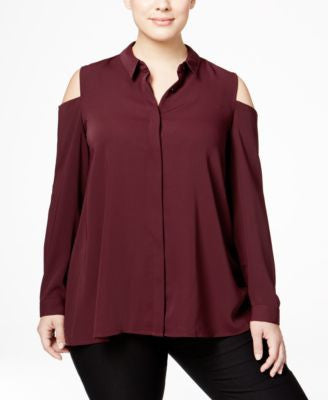 Alfani Plus Size Cold-Shoulder Shirt, Only at Vogily